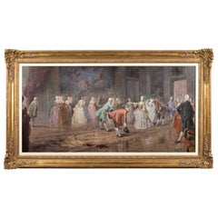 Large French Ballroom Scene, Oil on board, France, circa 1880