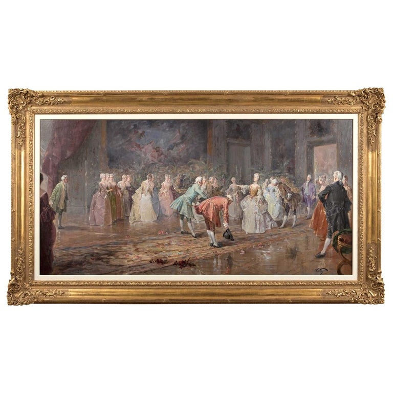Large French Ballroom Scene, Oil on board, France, circa 1880 For Sale