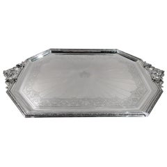 Large French Belle Époque Classical Silver Tray by Cardeilhac