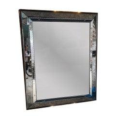 Large French Beveled Mid Century Mirror