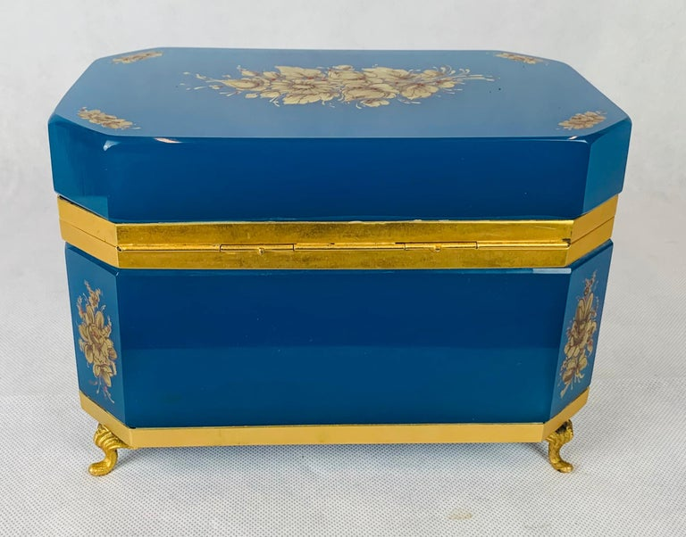 Belle Époque Large Blue Opaline Hand Painted Hinged Glass Box with Gilt Frame For Sale