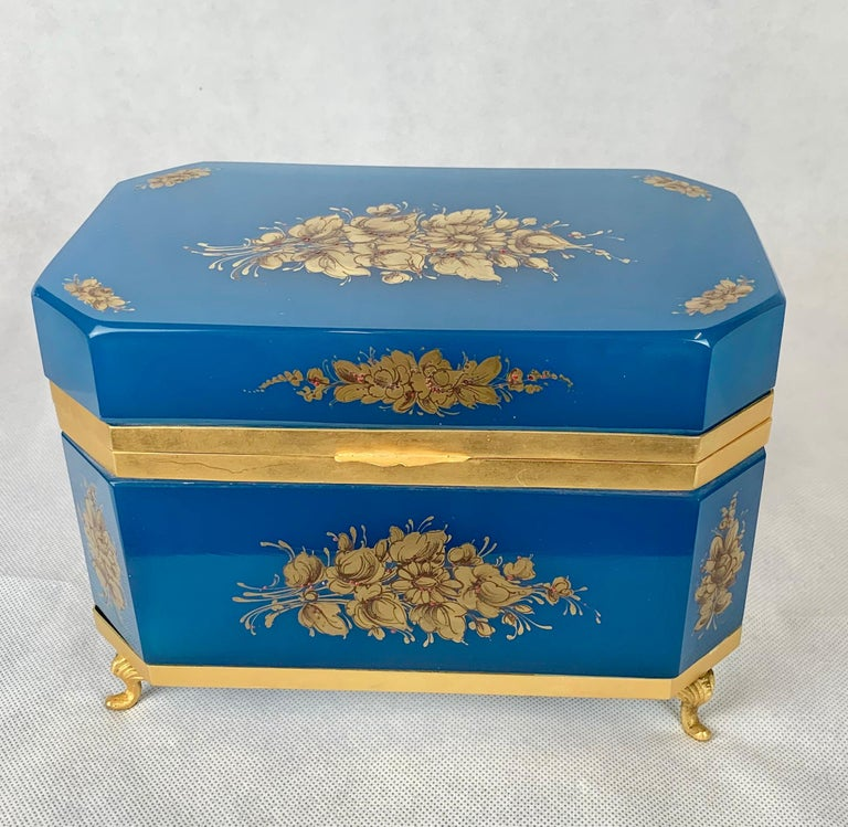 French Large Blue Opaline Hand Painted Hinged Glass Box with Gilt Frame For Sale
