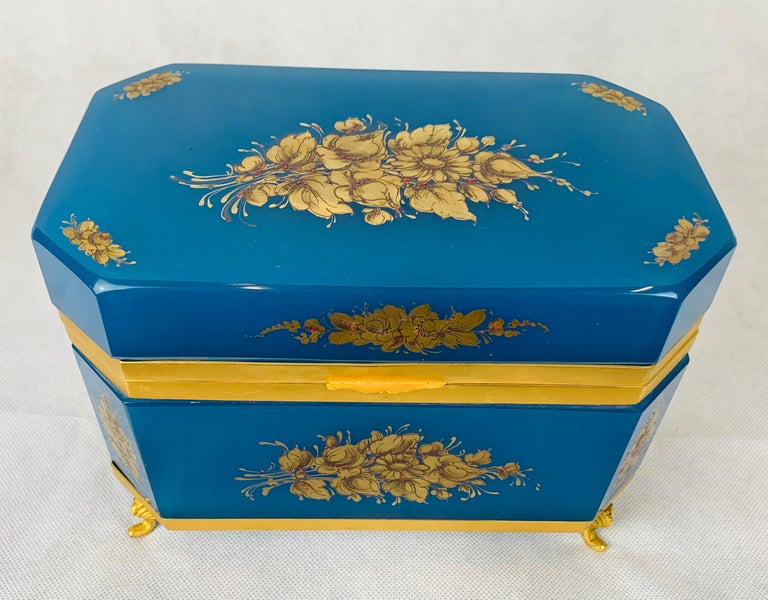 Large Blue Opaline Hand Painted Hinged Glass Box with Gilt Frame In Good Condition For Sale In West Palm Beach, FL