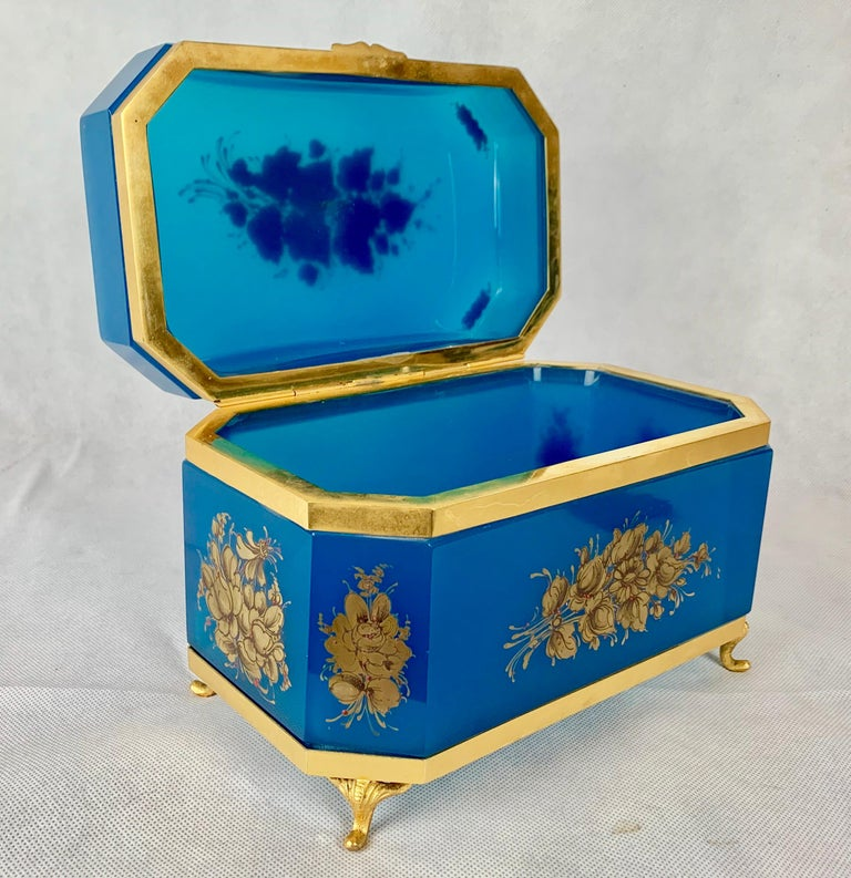Late 19th Century Large Blue Opaline Hand Painted Hinged Glass Box with Gilt Frame For Sale