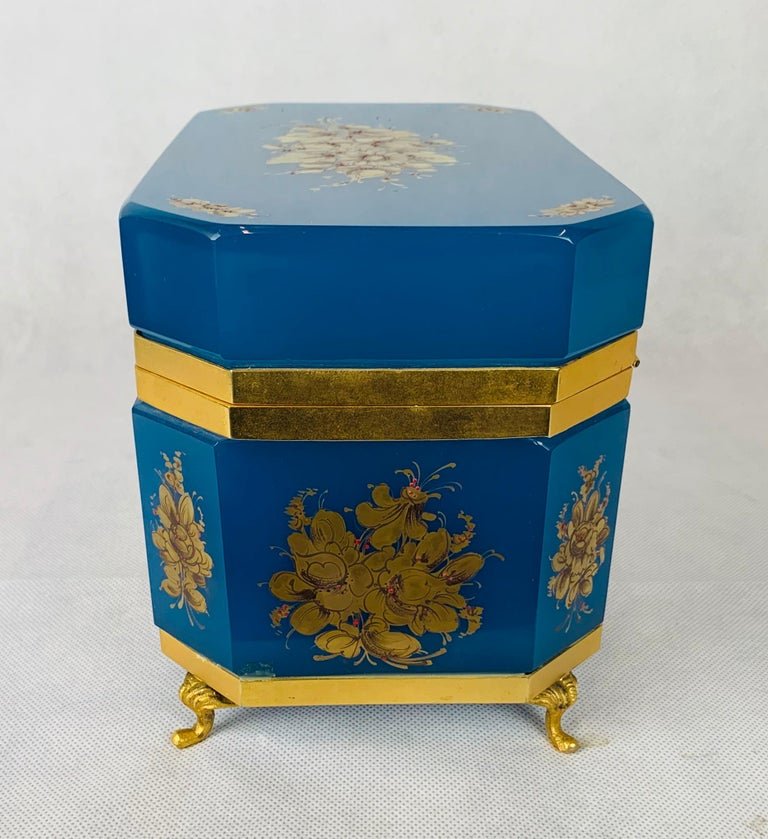 Brass Large Blue Opaline Hand Painted Hinged Glass Box with Gilt Frame For Sale