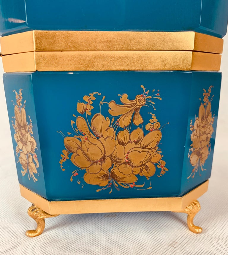 Large Blue Opaline Hand Painted Hinged Glass Box with Gilt Frame For Sale 1
