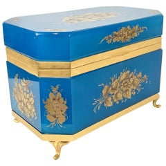 French Large Blue Opaline Hinged Glass Box with Hand Painted Flowers