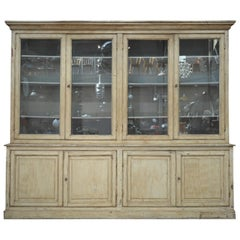 Large French Bookcase 8 Doors Cabinet, circa 1900