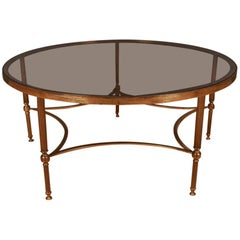 Large French Brass and Glass Coffee Table