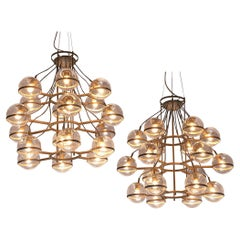Large French Brass Chandeliers with 18 Spheres in Glass