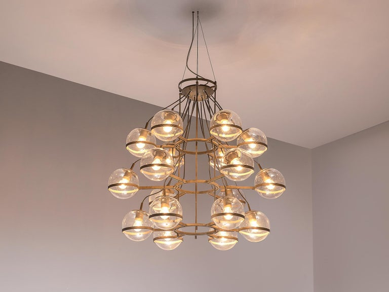 Mid-Century Modern Large French Brass Chandeliers with Eighteen-Glass Spheres For Sale