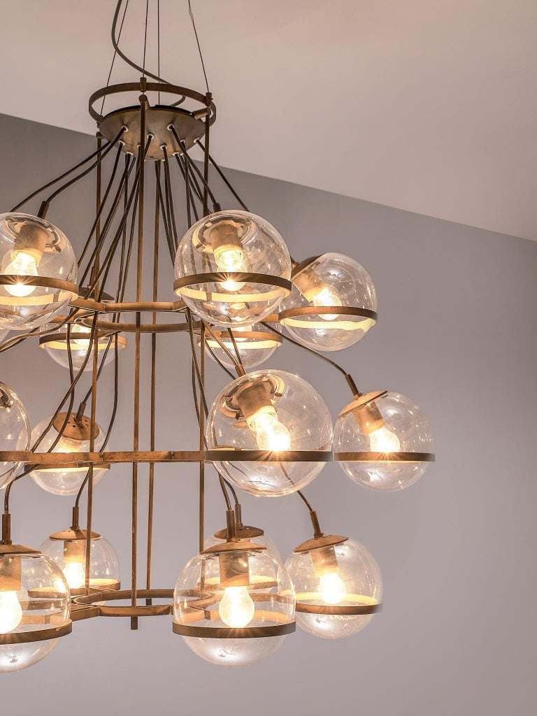 Mid-20th Century Large French Brass Chandeliers with Eighteen-Glass Spheres For Sale