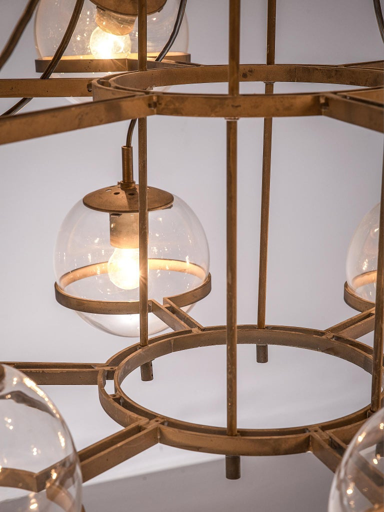 Large French Brass Chandeliers with Eighteen-Glass Spheres For Sale 2
