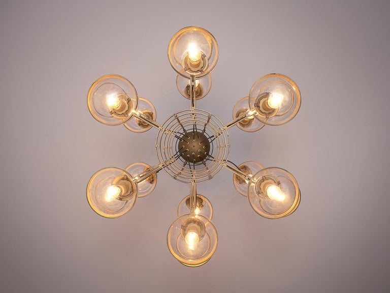 Large French Brass Chandeliers with Eighteen-Glass Spheres For Sale 3