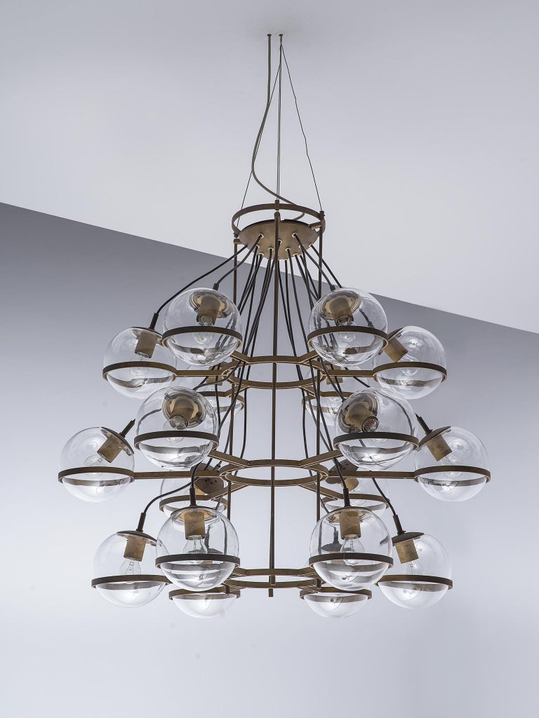Large French Brass Chandeliers with Eighteen-Glass Spheres For Sale 4