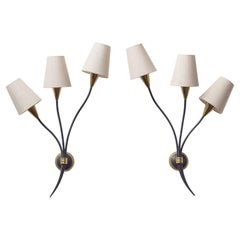 Large French Brass Wall Lights by Arlus, 1950s
