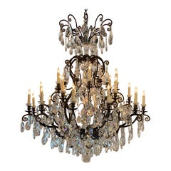 Large French Bronze Crystal Chandelier