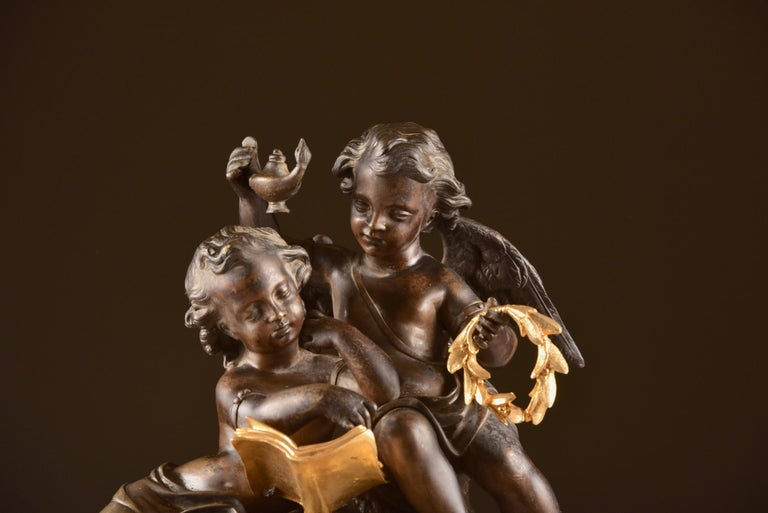 Large French Bronze Gilt Clock with 2 Cherubim For Sale 5