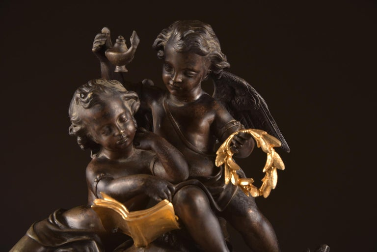 Large French Bronze Gilt Clock with 2 Cherubim For Sale 6