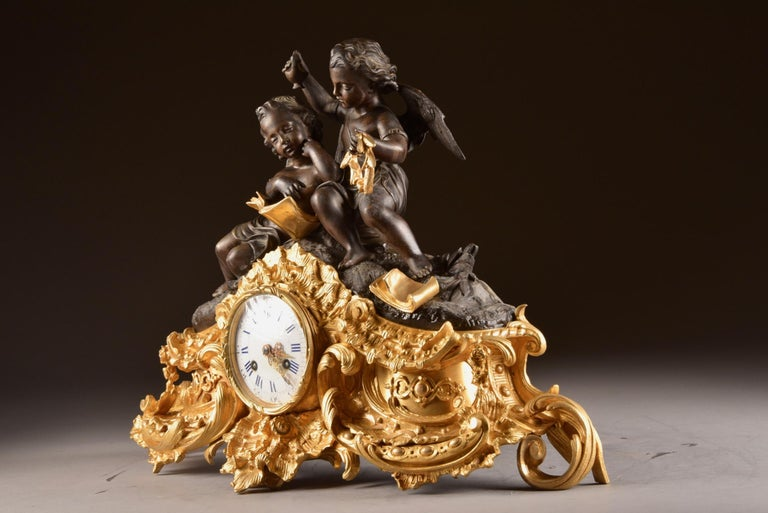 Large French Bronze Gilt Clock with 2 Cherubim For Sale 10