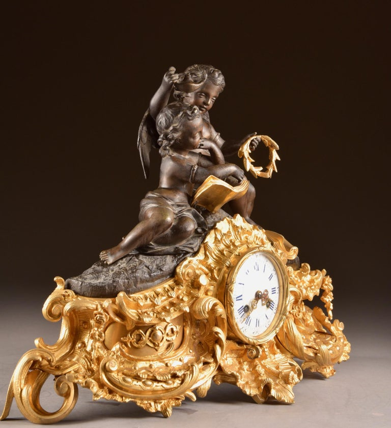 Large French Bronze Gilt Clock with 2 Cherubim For Sale 15