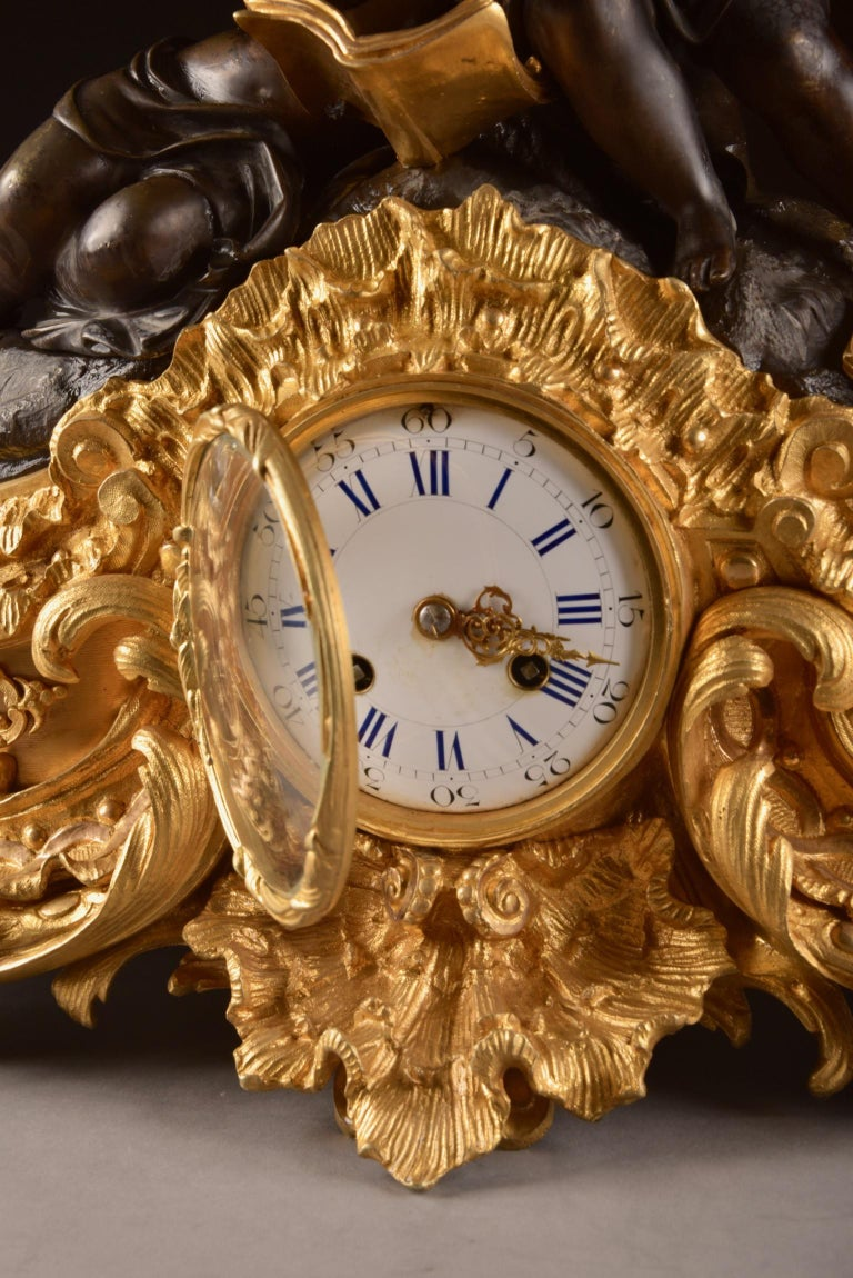 Mid-19th Century Large French Bronze Gilt Clock with 2 Cherubim For Sale