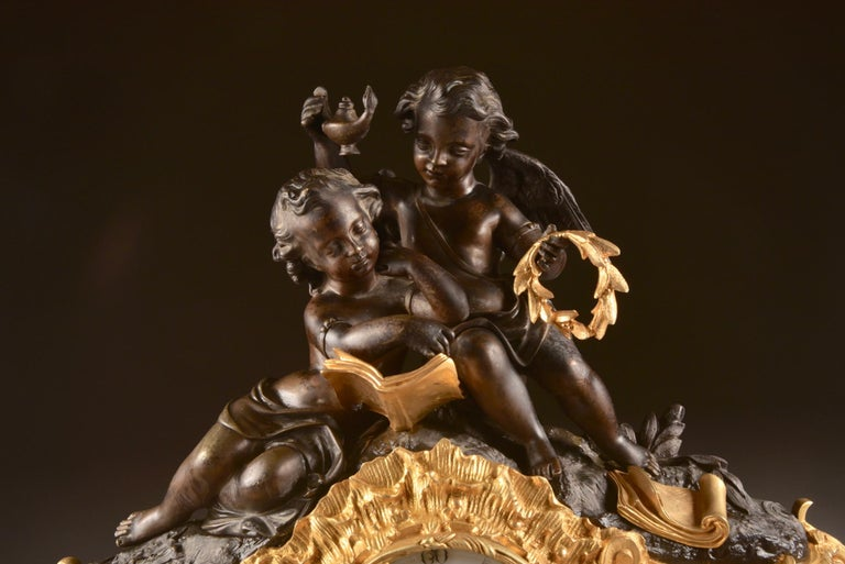 Large French Bronze Gilt Clock with 2 Cherubim For Sale 2