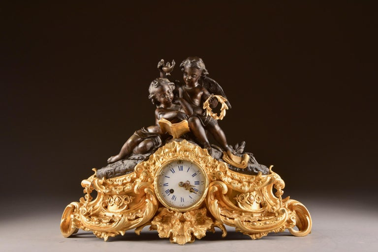 Large French Bronze Gilt Clock with 2 Cherubim For Sale 3