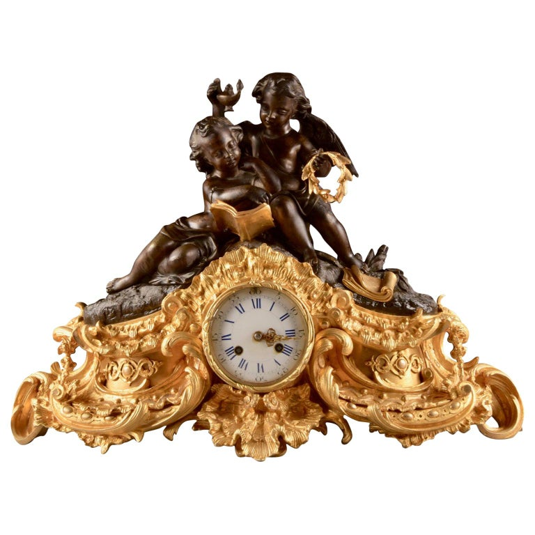Large French Bronze Gilt Clock with 2 Cherubim For Sale