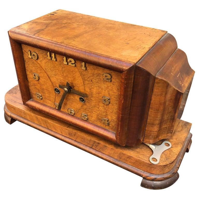 Large French Burlwood Art Deco Mantel Clock