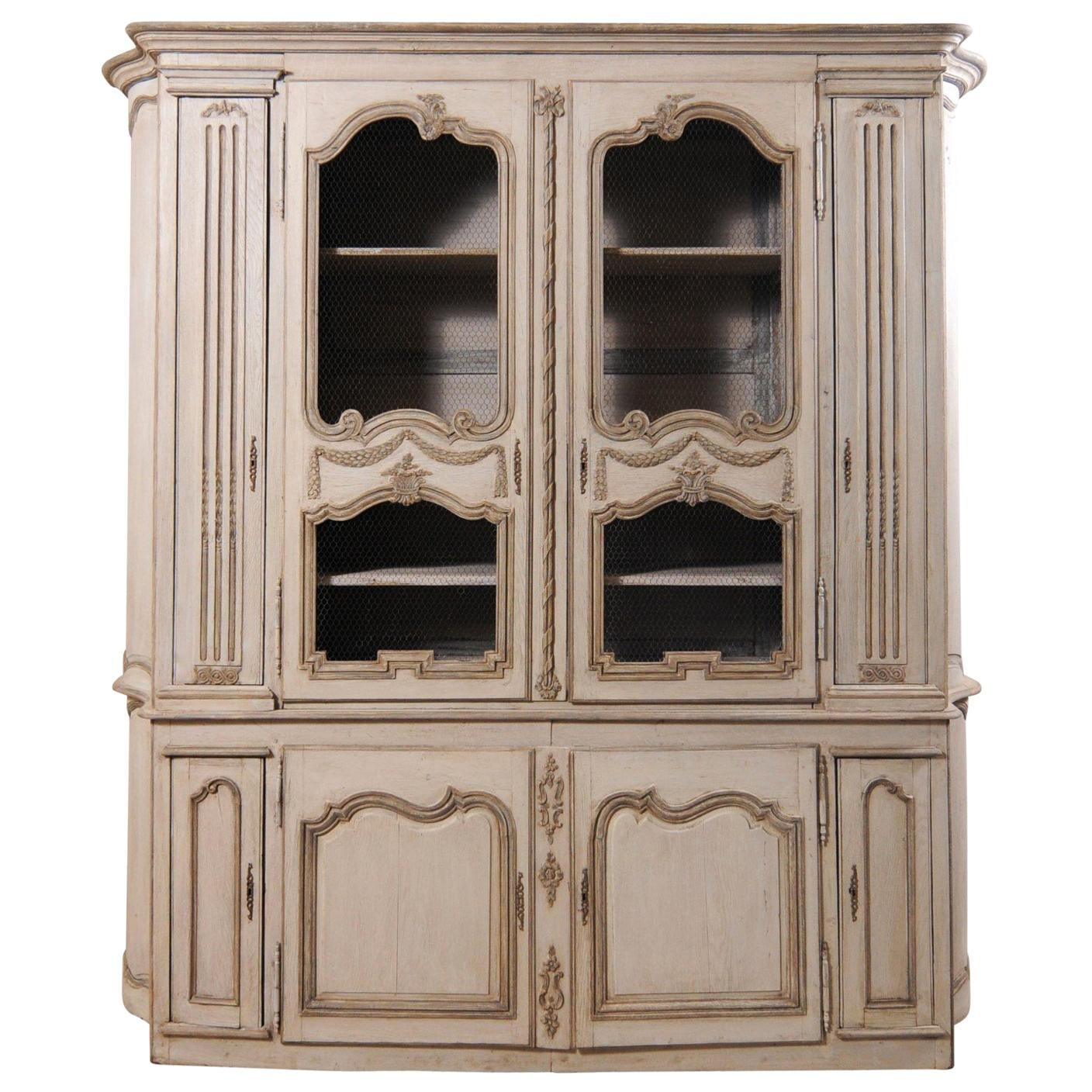 Large French Carved and Painted Wood Display and Storage Cabinet