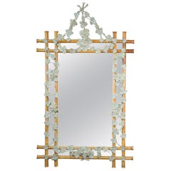 Large French Carved Gesso Paint Decorated Faux Bois Mirror with Ivy