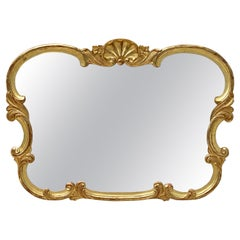 Large French Carved Gilt Frame Mirror With Seashell Crest (H 33 3/4 X W 47)