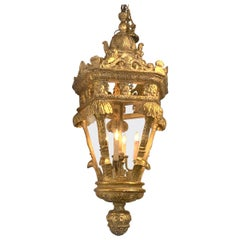 Large French Carved Giltwood Lantern, Breakers, Palm Beach FL
