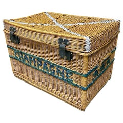 Large French Champagne Wicker Basket Trunk, 1930s, France