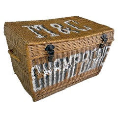 Large French Champagne Wicker Basket Trunk, 1936, France