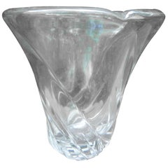 Large French Clear Crystal Vase by Daum