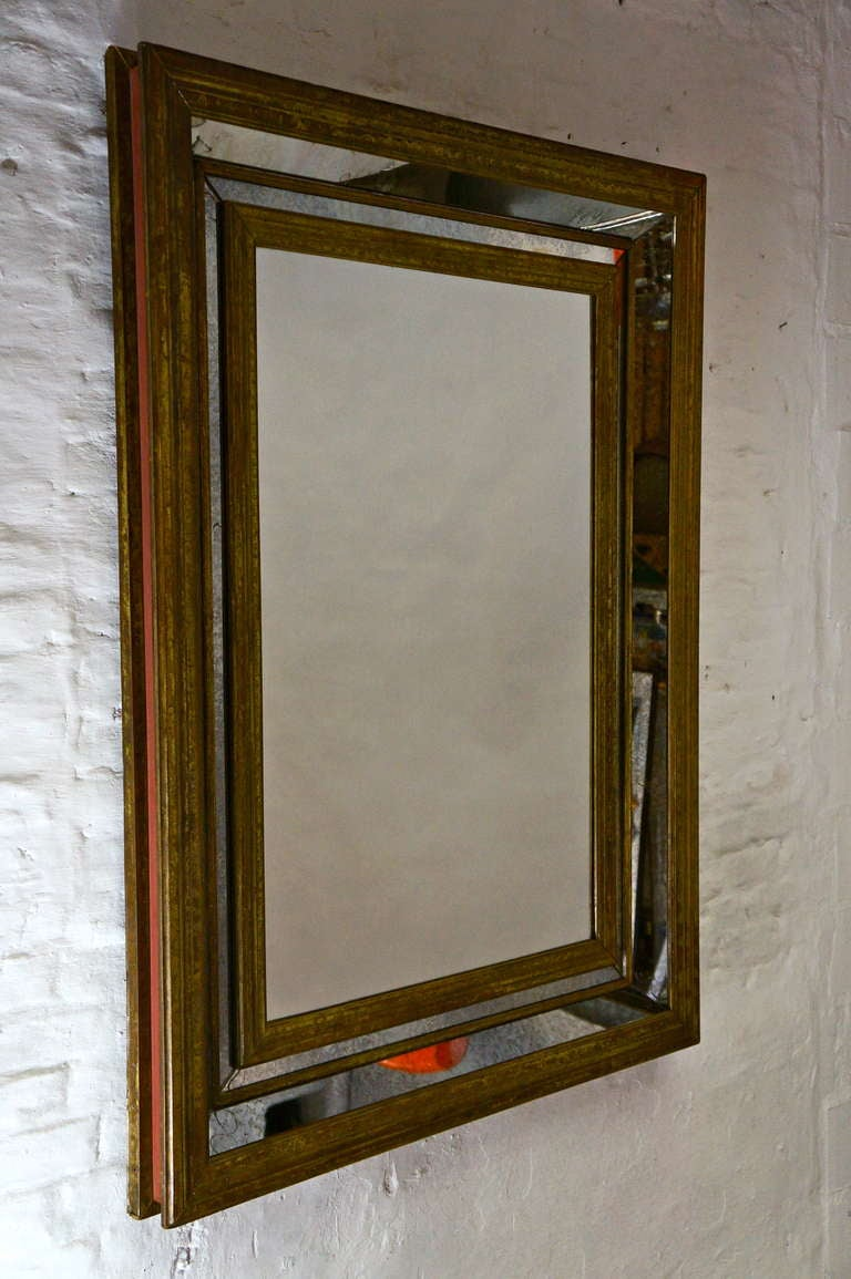 Large French copper mirror.