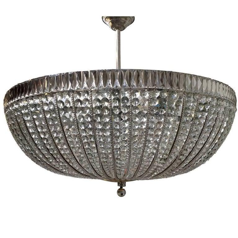Large French Crystal Semi Flush Light Fixture