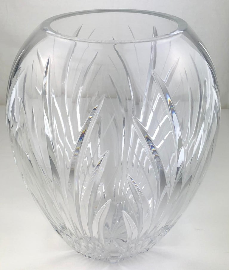 20th Century Large French Cut Clear Crystal Flower Vase For Sale
