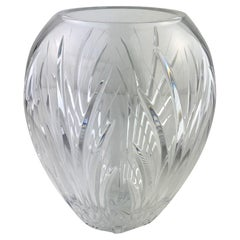 Large French Cut Clear Crystal Flower Vase