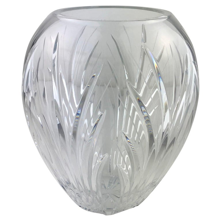 Large French Cut Clear Crystal Flower Vase For Sale