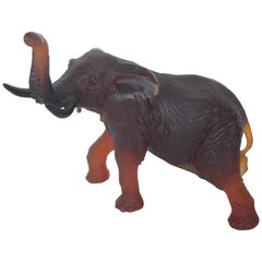 Large French Daum Pate de Verre Crystal Elephant