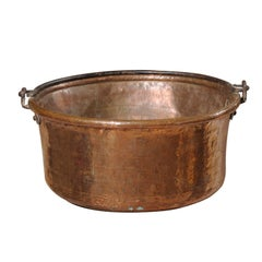 Large French Early 20th Century Circular Copper Pot with Iron Handle