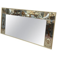 Large French Églomisé Glass and Giltwood Mirror, 1970s