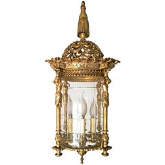 Large French Empire Fire Gilded Bronze Cut Glass Four-Light Lantern Chandelier