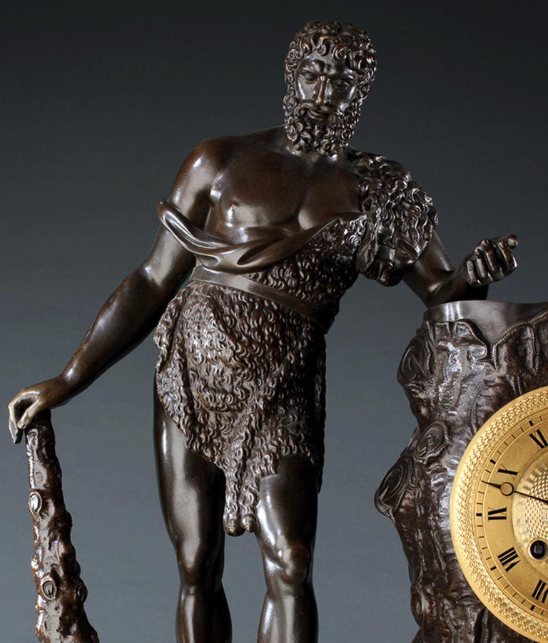 Large French Empire Ormolu Hercules and the Apple of Hesperides Clock circa 1820 In Good Condition For Sale In London, GB