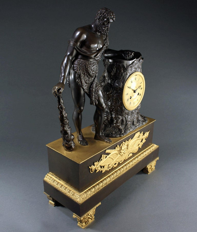 19th Century Large French Empire Ormolu Hercules and the Apple of Hesperides Clock circa 1820 For Sale