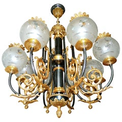 Large French Empire Patinated and Gilt Bronze 8 Etched Globe Chandelier