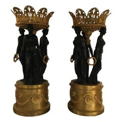 Large French Empire Style Dore and Patinated Bronze Centrepieces, Fine Quality
